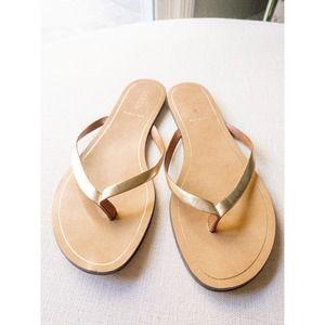 J. Crew Gold Metallic Leather Strap Rio Sandals
